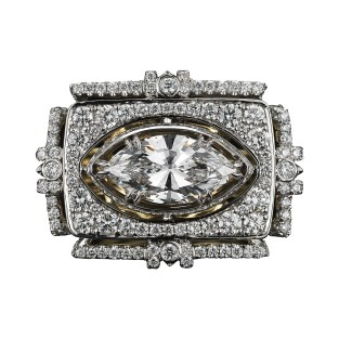 A one-of-a-kind Diamond ring comprised of a 1.78 carat Marquise-cut center Diamond, enhanced by Alexandra Mor signature details of 1mm knife-edged wire and a mix of 268 'floating' Diamond melee ranging from 1mm to 2.20mm and 1.85 total carat weight. Platinum set on an 18-karat yellow gold AM logo gallery. Signed by artist. Crafted in the USA. Made-to-order. One-of-a-Kind 1/1.