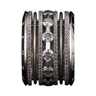 A wide eternity band comprised of Brilliant-cut Diamonds, with Alexandra Mor's signature details of 1mm melee bands and knife-edged wire. 18-karat white gold set around 18-karat yellow gold with 'Alexandra Mor' engraved on beveled edges. 4.20 total carat weight. Signed by artist. Crafted in the USA. Limited-Edition 1/50.