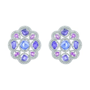 """Charismatique"" earrings in 18K white gold set with a sugarloaf-cut blue tanzanite, baroque-cut pink and violet sapphires and brilliant-cut diamonds. CHANEL Joaillerie"