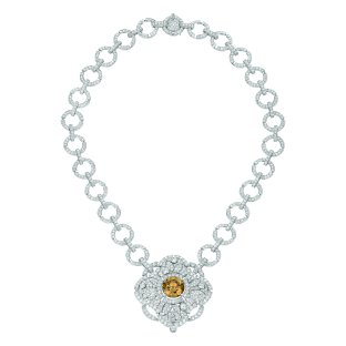 """Particulière"" necklace in 18K white gold set with an 11.6-carat brilliant-cut fancy dark yellow brown diamond, a 2.2-carat brilliant-cut diamond, 83 brilliant-cut brown diamonds for a total weight of 2 carats and 1129 brilliantcut diamonds for a total weight of 23.7 carats. CHANEL Joaillerie"
