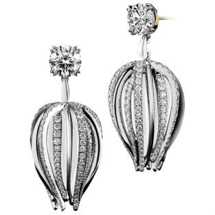 Curved Dangling Diamond Earrings