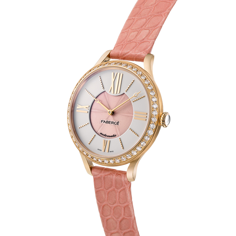Fabergé Lady Fabergé 36mm 18ct Rose Gold Watch - White and Pink Dial