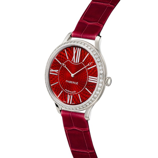 Fabergé Lady Fabergé 39mm 18ct White Gold Watch - Enamel Red Dial
