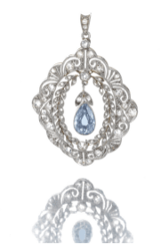 The open work pendant set at the centre with a fancy greyish blue pear- shaped diamond weighing 1.03 carat, within a delicate garland style frame of stylized foliate, palmette and scroll design, set with cushion-shaped and rose-cut diamonds.