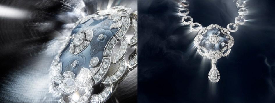 """Fascinante"" necklace in 18K white gold set with a 2-carat pear-cut diamond, 2 brilliant-cut diamonds for a total weight of 1.3 carat, 713 brilliant-cut diamonds for a total weight of 19.5 carats and enamel."