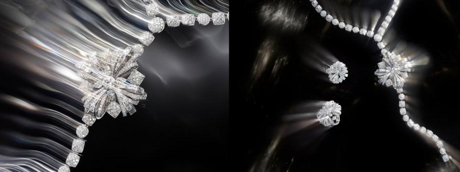 """""""Attirante"""" ring in 18K white gold set with a 1-carat brilliant-cut diamond, 4 pear-cut diamonds for a total weight of 1 carat, 12 baguette-cut diamonds for a total weight of 1.2 carat, 12 square-cut diamonds for a total weight of 1.1 carat and 285 brilliant-cut diamonds for a total weight of 2.9 carats. """"Attirante"""" ring in 18K white gold set with 4 cushion-cut diamonds for a total weight of 1.6 carat, 25 square-cut diamonds for a total weight of 1.9 carat and 78 brilliant-cut diamonds for a total weight of 2.7 carats. """"Attirante"""" necklace in 18K white gold set with a 2.3-carat brilliant-cut diamond, 4 pear-cut diamonds for a total weight of 2.8 carats, 24 squarecut diamonds for a total weight of 6.2 carats, 37 baguette-cut diamonds for a total weight of 6.2 carats and 1194 brilliant-cut diamonds for a total weight of 32.4 carats. CHANEL Fine Jewelry"""