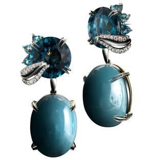 Medi Leaf London Blue Topaz and Aqua Opal Cabochon Earrings