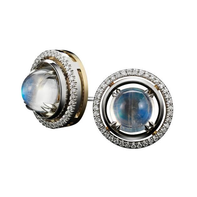 Medium Moonstone Studs with Diamond Earring Jackets