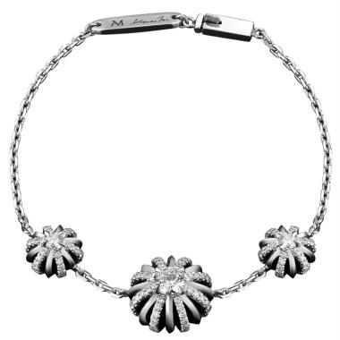 Platinum Three Diamond Snowflake Bracelet