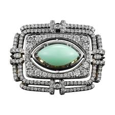 Marquise Shaped Cabochon Green Opal Diamond Gold Platinum Cocktail Ring