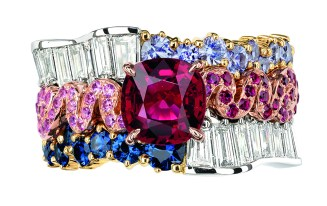 Tresse Rubis Ring. 950/1000 platinum, 750/1000 pink and yellow gold, diamonds, rubies, purple sapphires, sapphires and pink sapphires.