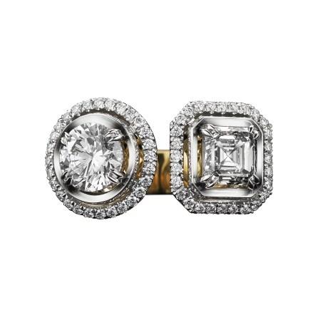 Alexandra Mor Two-Stone Asscher-Cut & Brilliant-Cut Diamond Ring