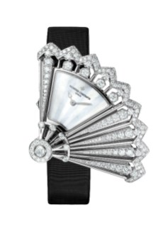 Heures Créatives - Heure Discrète diamonds and black satin strap, open.