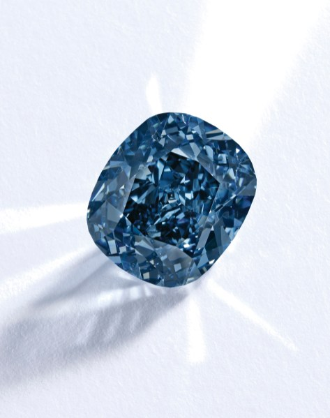 The Blue Moon Diamond. Among the world's largest known fancy vivid blue diamonds, this exquisite stone weighs 12.03 carats and has been graded Fancy Vivid Blue – the highest possible colour grading for blue diamonds - by the Gemological Institute of America (GIA). The cushion brilliant-cut stone also boasts exceptional clarity, having been declared Internally Flawless by the GIA. Estimate $35-55 million.