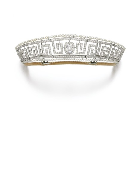 Marguerite, Lady Allan, Cartier Tiara. Designed as an open work Greek key band set with diamonds and with an outer border of pearls, this tiara lies at the centre of a fascinating story. Ordered from Cartier by Canadian ship owner Sir Hugh Montagu Allan around 1909, it was part of the jewellery collection of his wife Lady Marguerite Allan (1873-1957). The tiara was among the jewels which Lady Allan took with her on board the ill-fated RMS Lusitania in 1915; the ship sank after being torpedoed by a German submarine. Lady Allan survived the disaster, as did the tiara, and remained in the family. Estimate: $300,000-450,000.