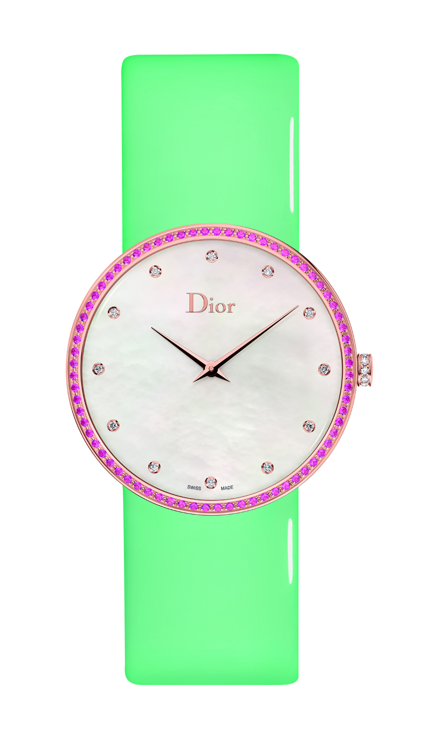 A D DE DIOR GRANVILLE MOTHER-OF-PEARL AND PINK SAPPHIRES - 38MM