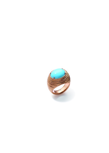 "Extremely Piaget ""Décor Torsade"" Ring. 18k pink gold ring featuring a 7 carat turquoise."