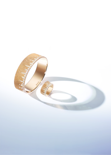 "Extremely Piaget ""Décor Palace"" Bracelet & Ring. Bracelet in 18k pink gold and 72 brilliant-cut diamonds (circa 2,79 carats). Ring in 18k pink gold and 54 brilliant-cut diamonds (circa 1 carat)"