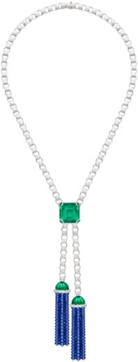 Extremely Piaget emerald, sapphire and diamond necklace.