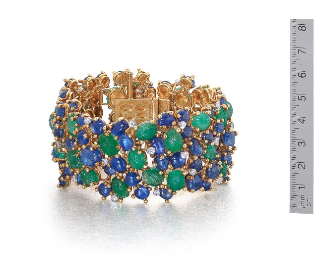 gold gem-set and diamond bracelet andrew grima
