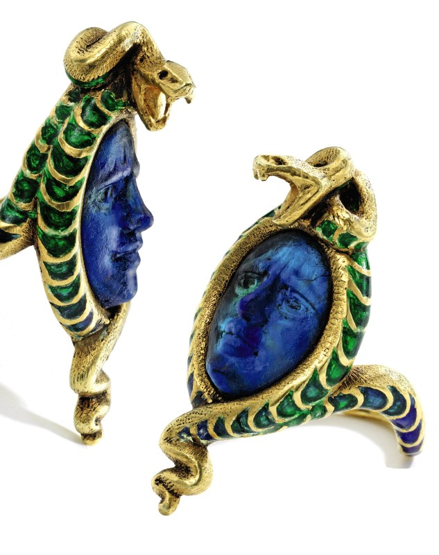 René Lalique Molded Glass and Enamel Ring