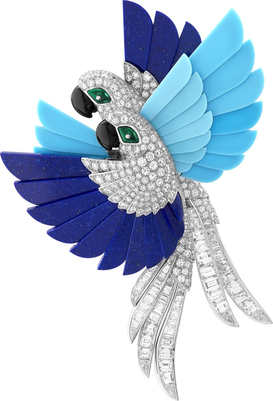 Arche de Noé, Perroquet brooch. White gold, round and baguette-cut diamonds, emerald beads, lapis lazuli, turquoise, onyx