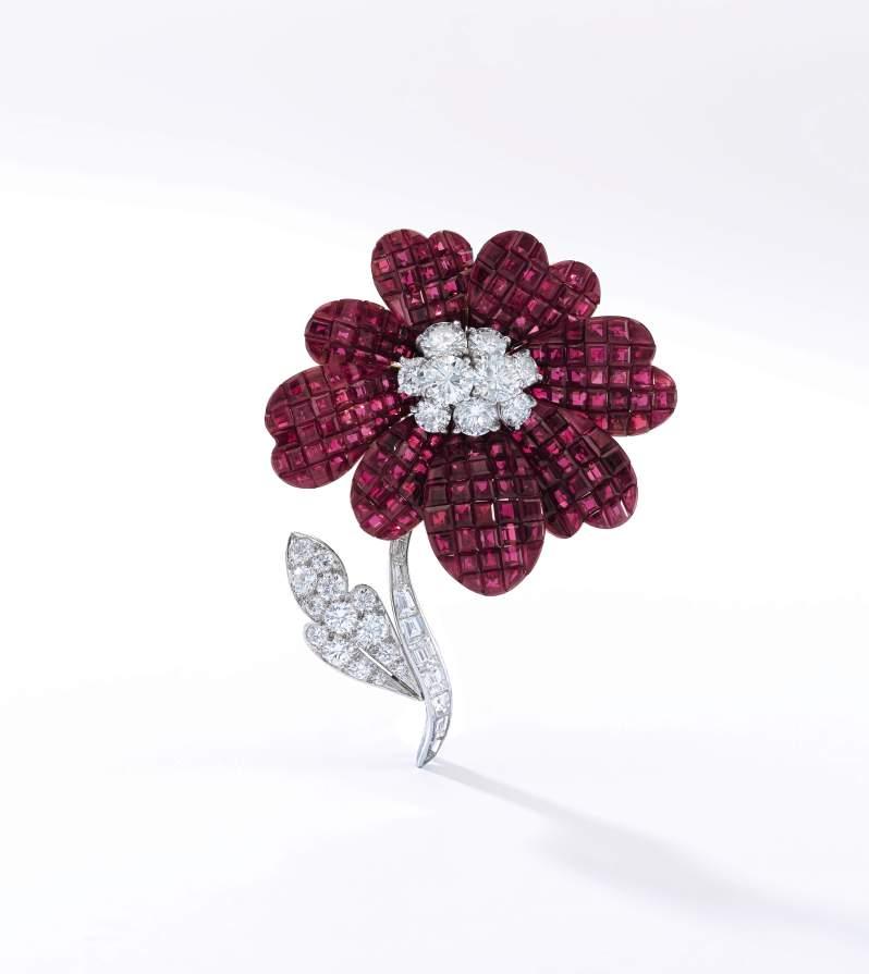 Lot 318- Ruby and diamond brooch VCA- Sotheby's Geneva 16 May 2017