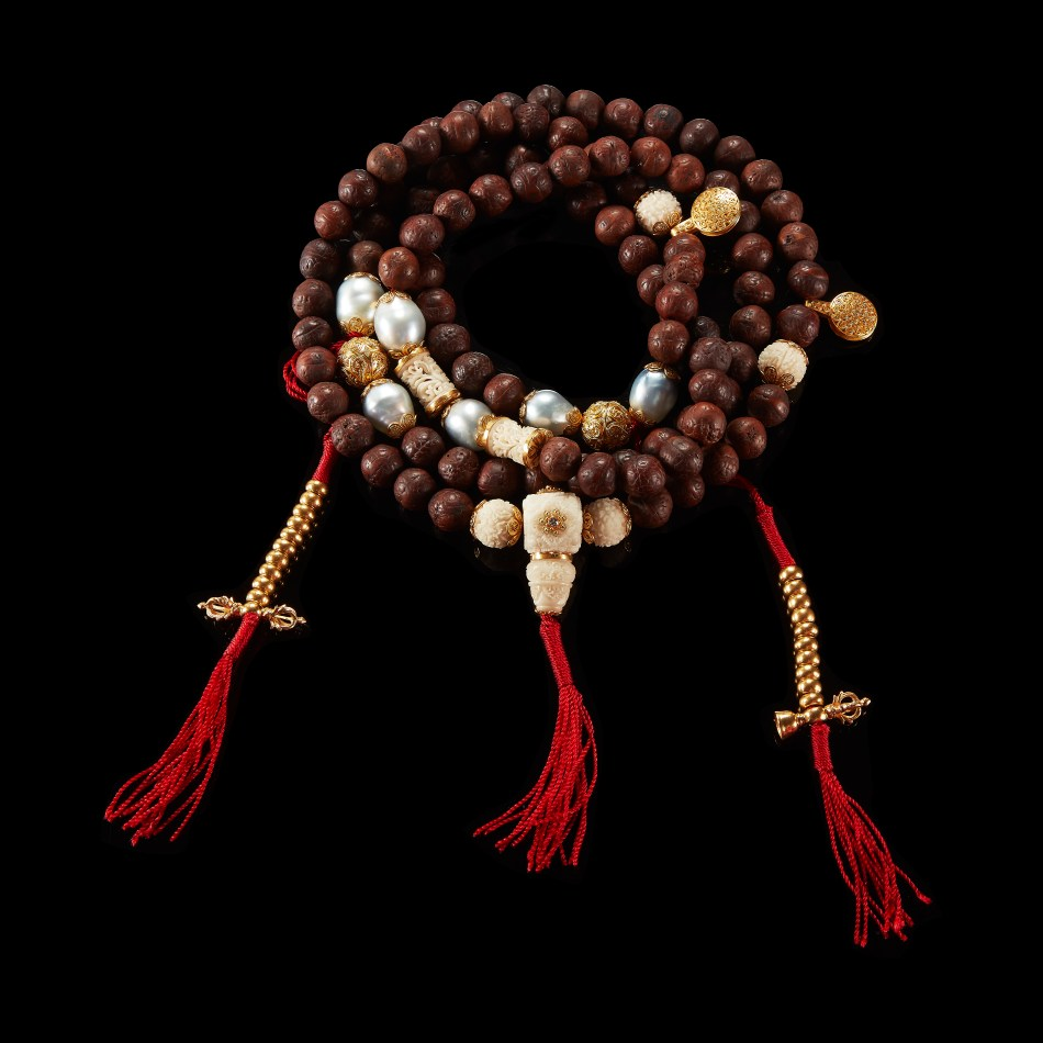 Alexandra Mor Nepali Bodhi With 22 Karat gold beads, Baroque pearls and carved tagua Seed beads Long Malla neckace