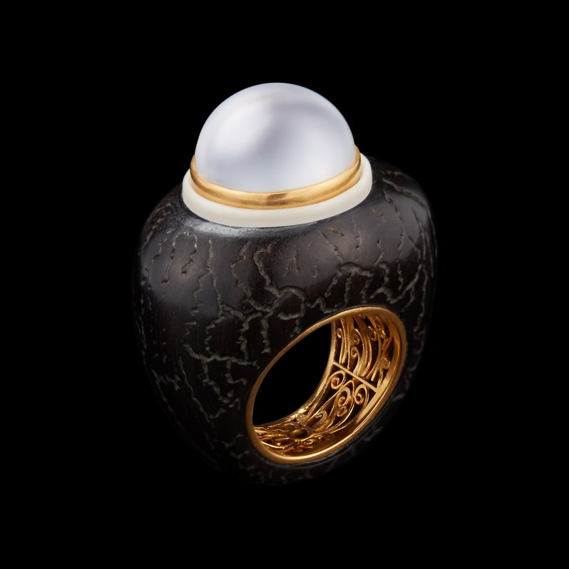 Alexandra Mor Pearl set on wood and Tagua seed ring