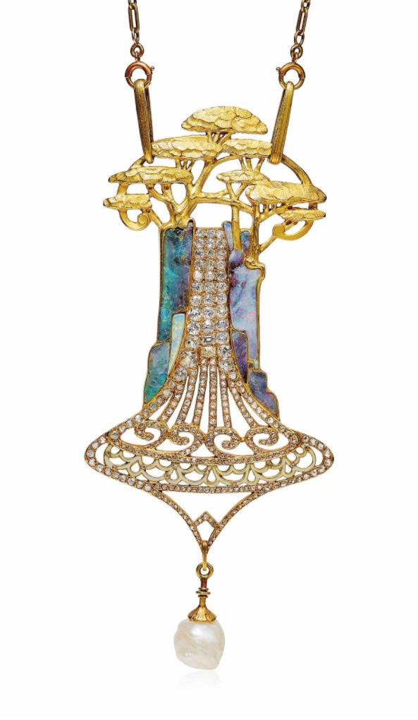 Art Nouveau cedars pendant by Georges Fouquet