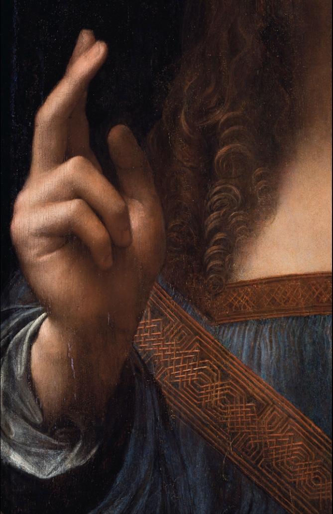 Leonardo da Vinci, Salvator Mundi - hand detail