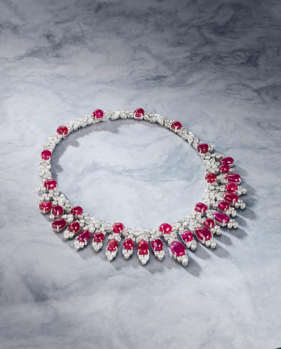 Bonhams A Burmese Ruby and Diamond necklace by Harry Winston