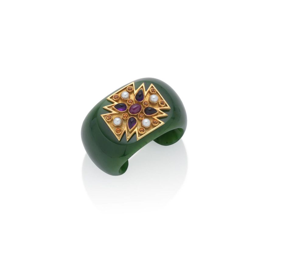 A Nephrite and Gem-Set Cuff by Verdura. Lot 116