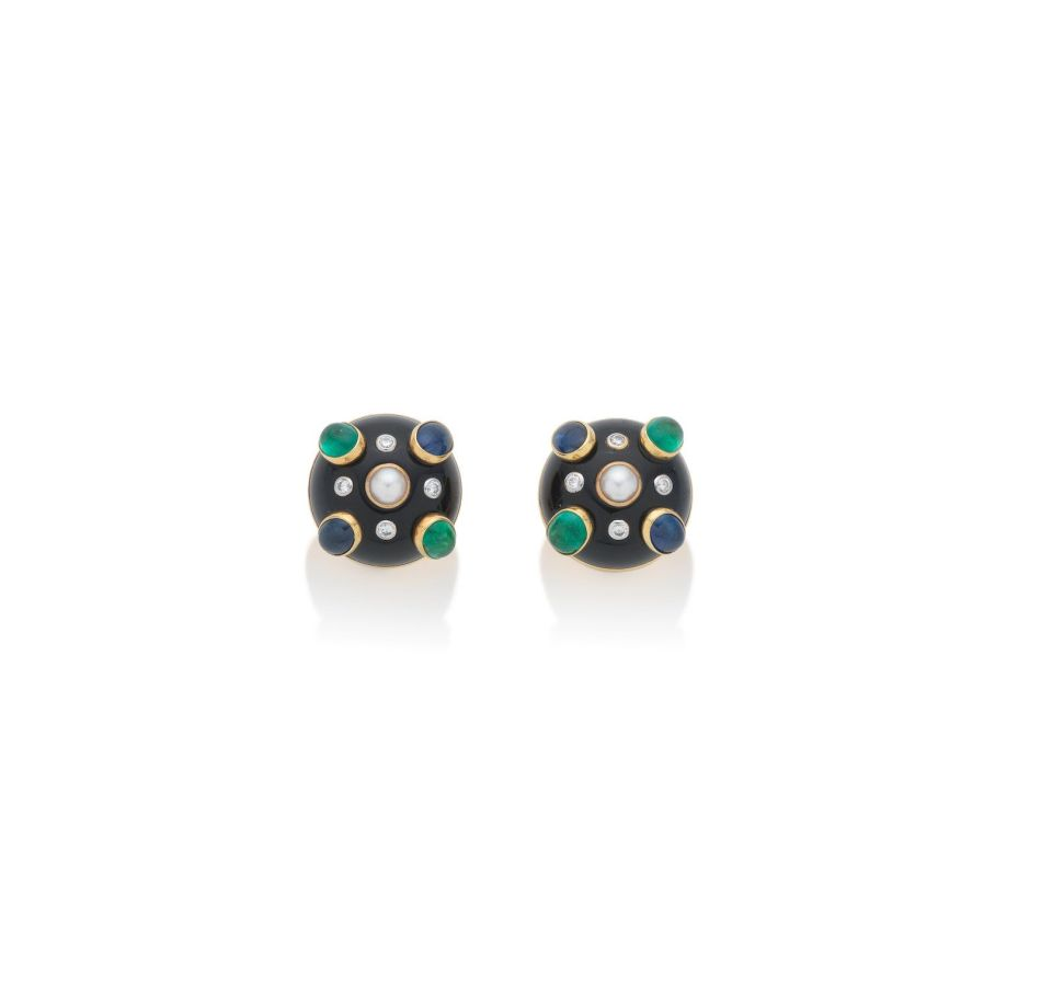 Black Jade and Gem-Set Cuff and Earclips by Verdura. Lot 117 (b)