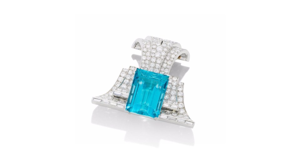 AN AQUAMARINE AND DIAMOND CLIP/BROOCH, by Trabert & Hoeffer-Mauboussin, circa 1940