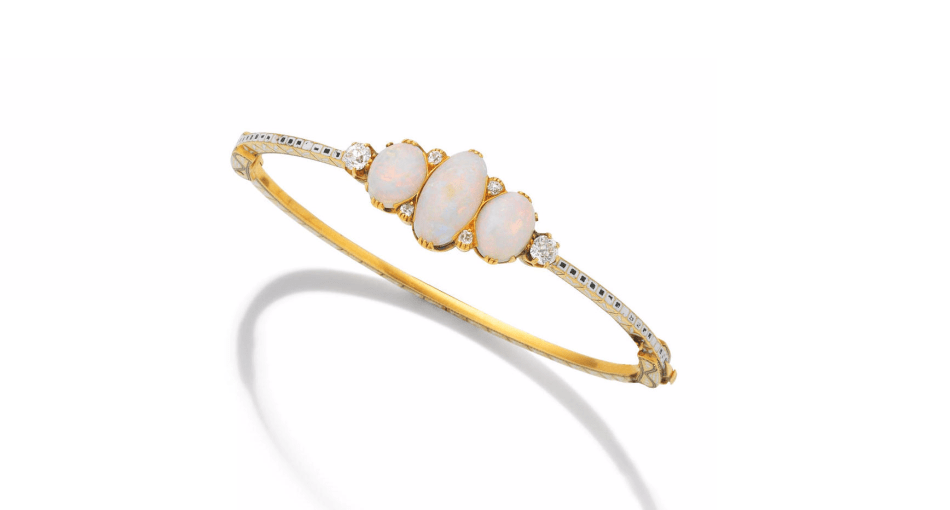 A GOLD, ENAMEL, OPAL AND DIAMOND HINGED BANGLE, by Carlo Giuliano, circa 1890