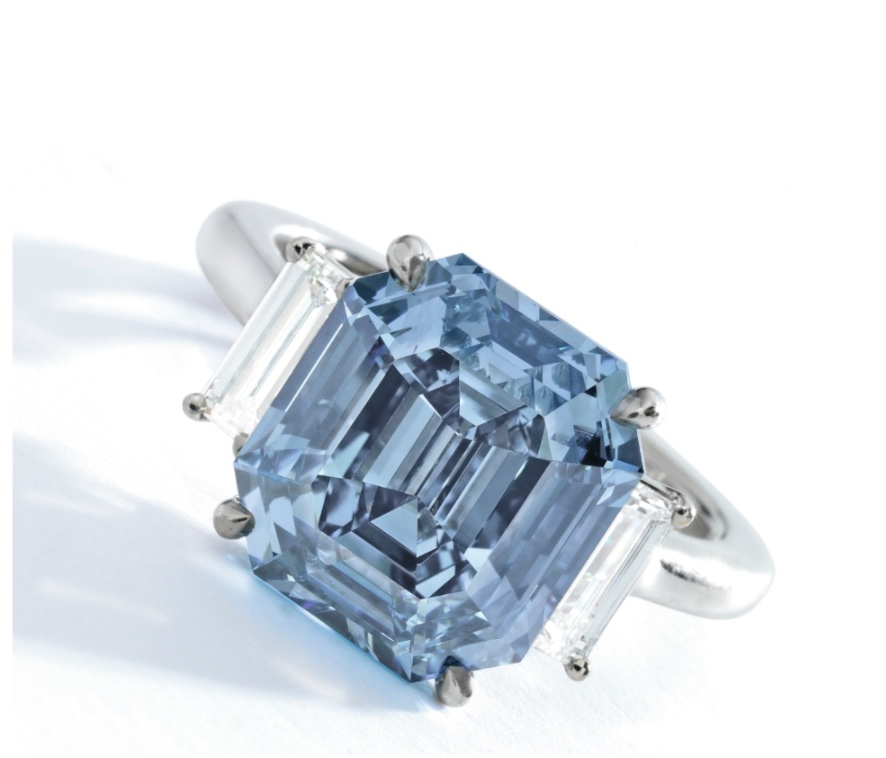Exquisite Fancy Vivid Blue Diamond and Diamond Ring Sotheby's New York