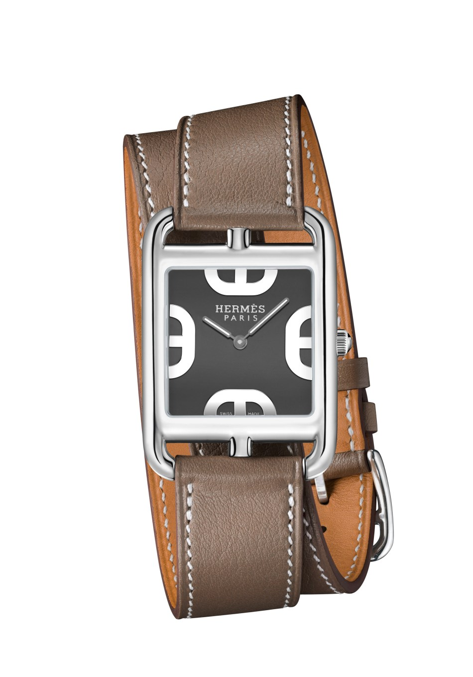 Cape Cod taupe, large model, doulbe leather strap