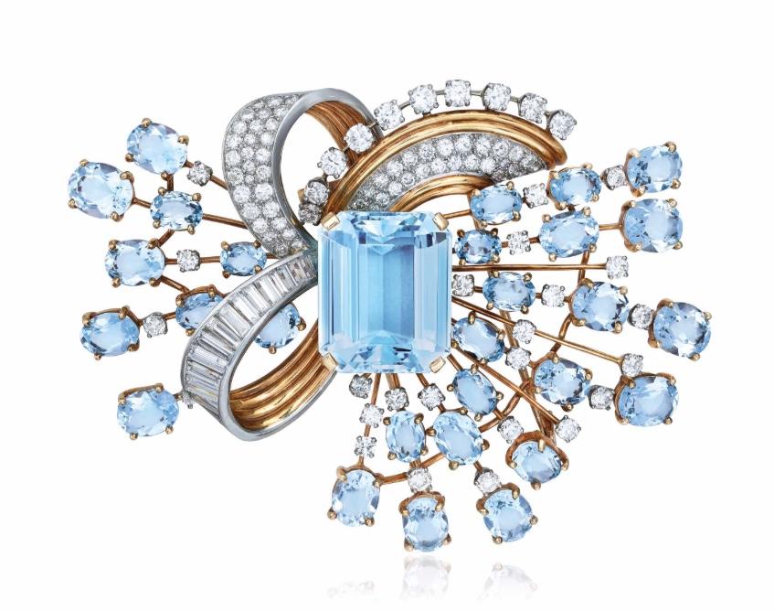 Retro aquamarine and diamond brooch Trabert & Hoeffer-Mauboussin