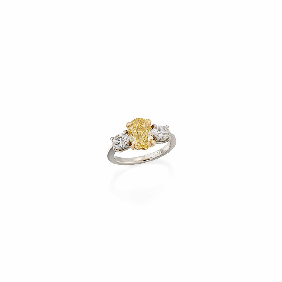 Lot 127 (coloured_diamond_and_diamond_ring)