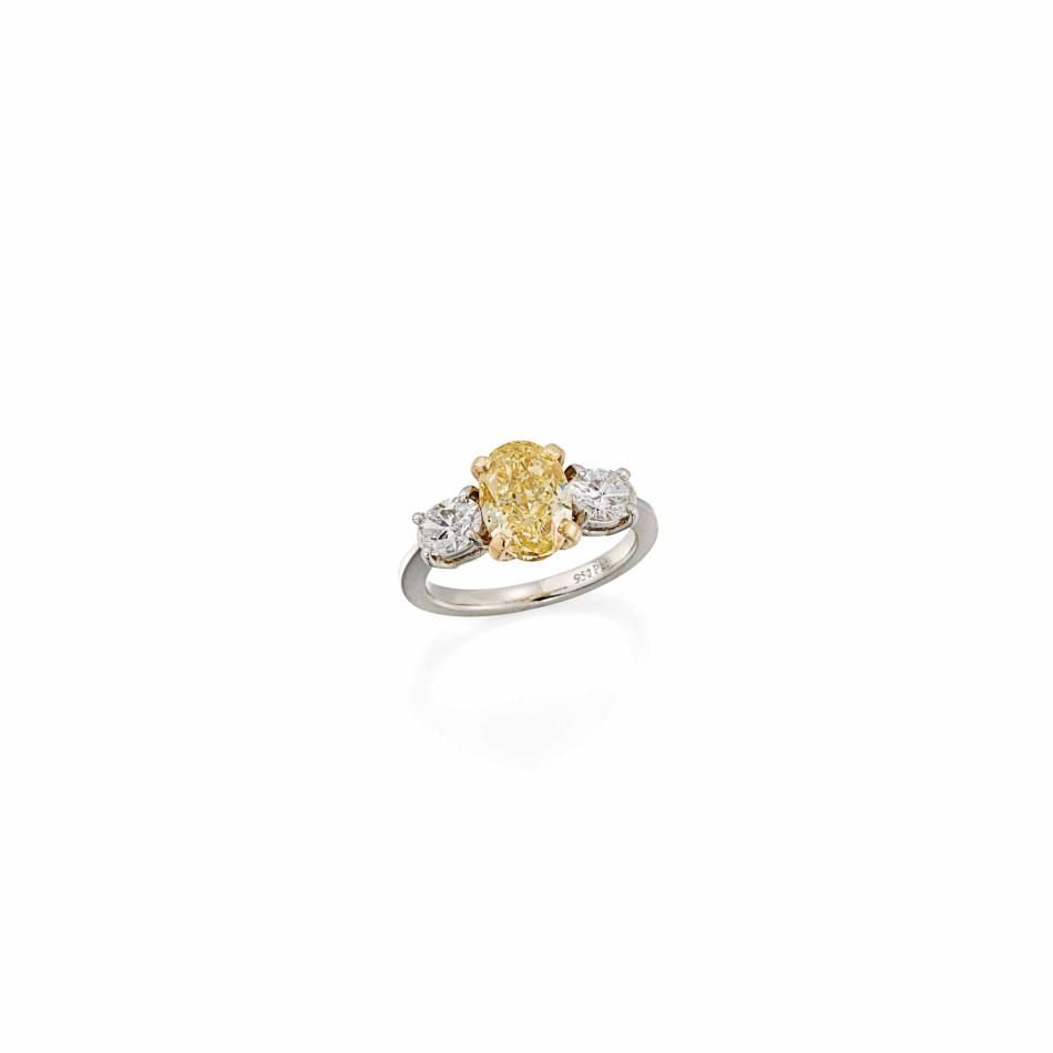 Lot 127 (coloured_diamond_and_diamond_ring)