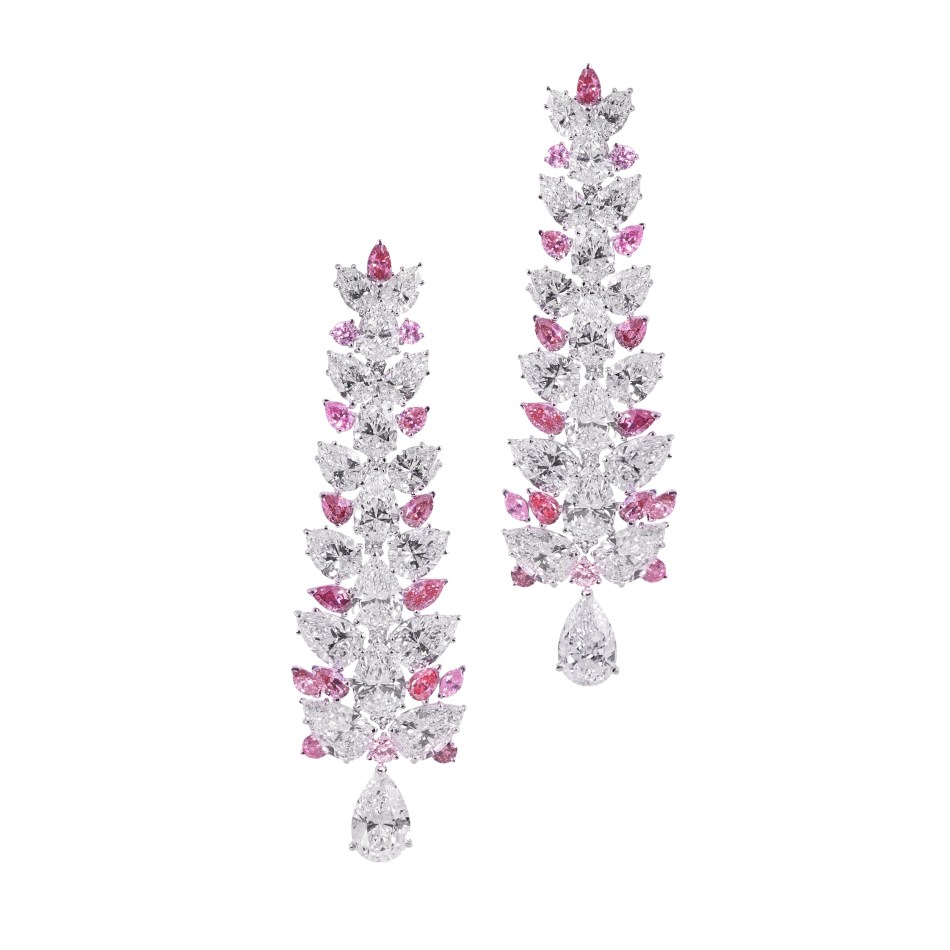 Moussaieff 4.24cts pink and 31.24cts white diamond chandelier earrings, set in platinum