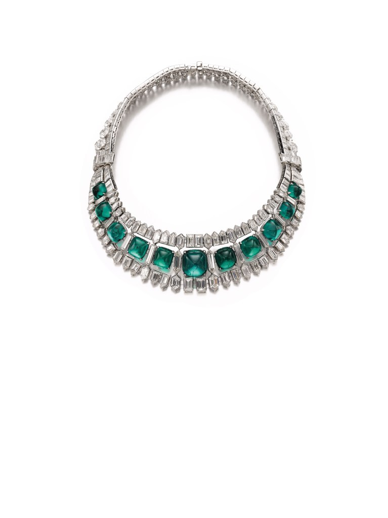 Magnificent and highly important emerald and diamond necklace, circa 1935