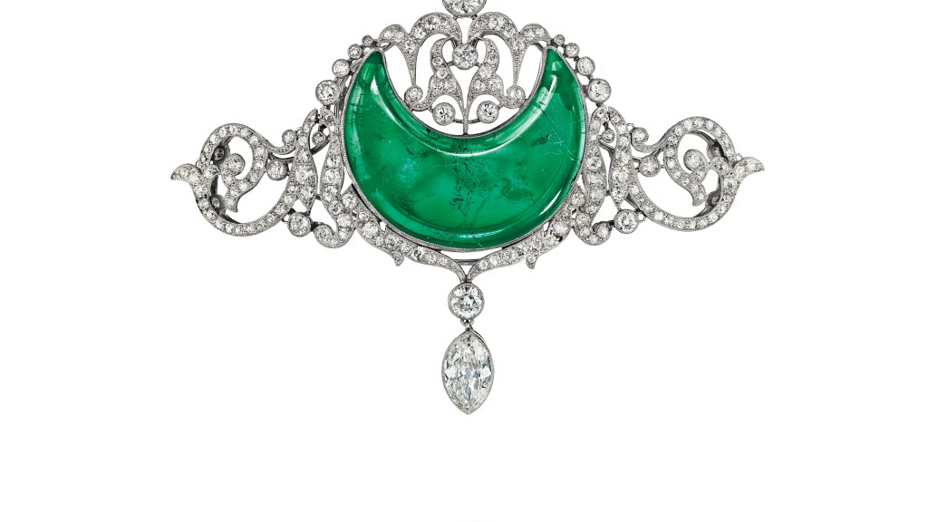 132_A dalis. BELLE ÉPOQUE EMERALD IR DIAMOND BROOCH_2