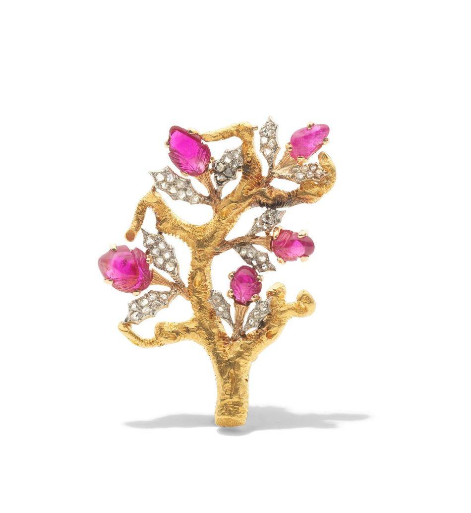 Buccellatiによるルビーとダイヤモンドの木のブローチ