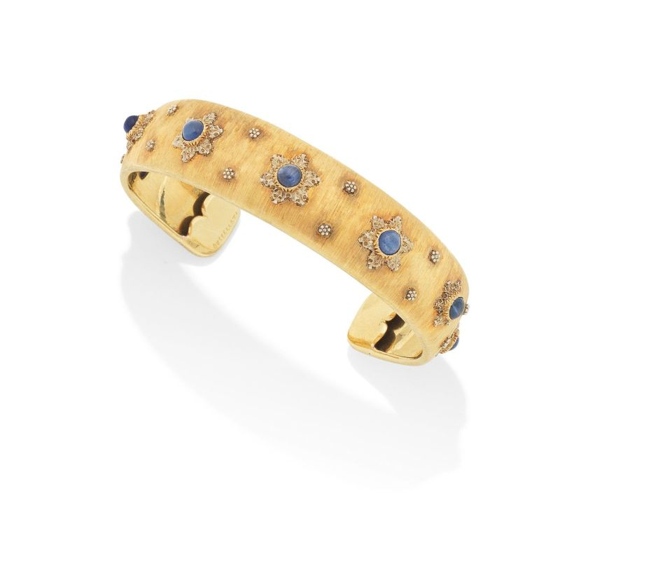 A varicoloured gold and sapphire bangle, by Buccellati