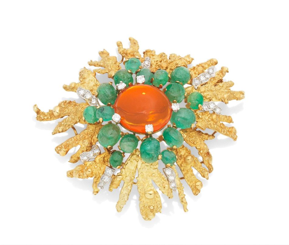 A fire opal, emerald and diamond brooch, by Grima, 1968