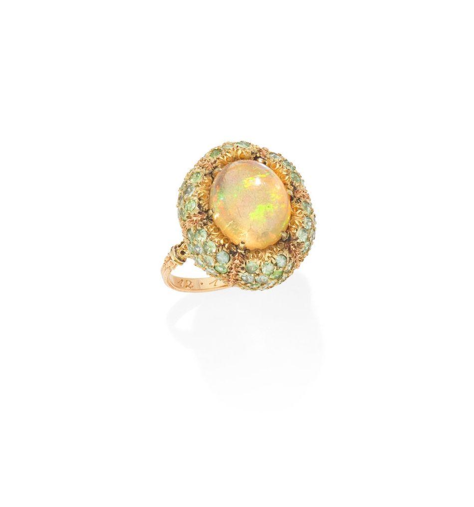 An opal and peridot ring, by Buccellati