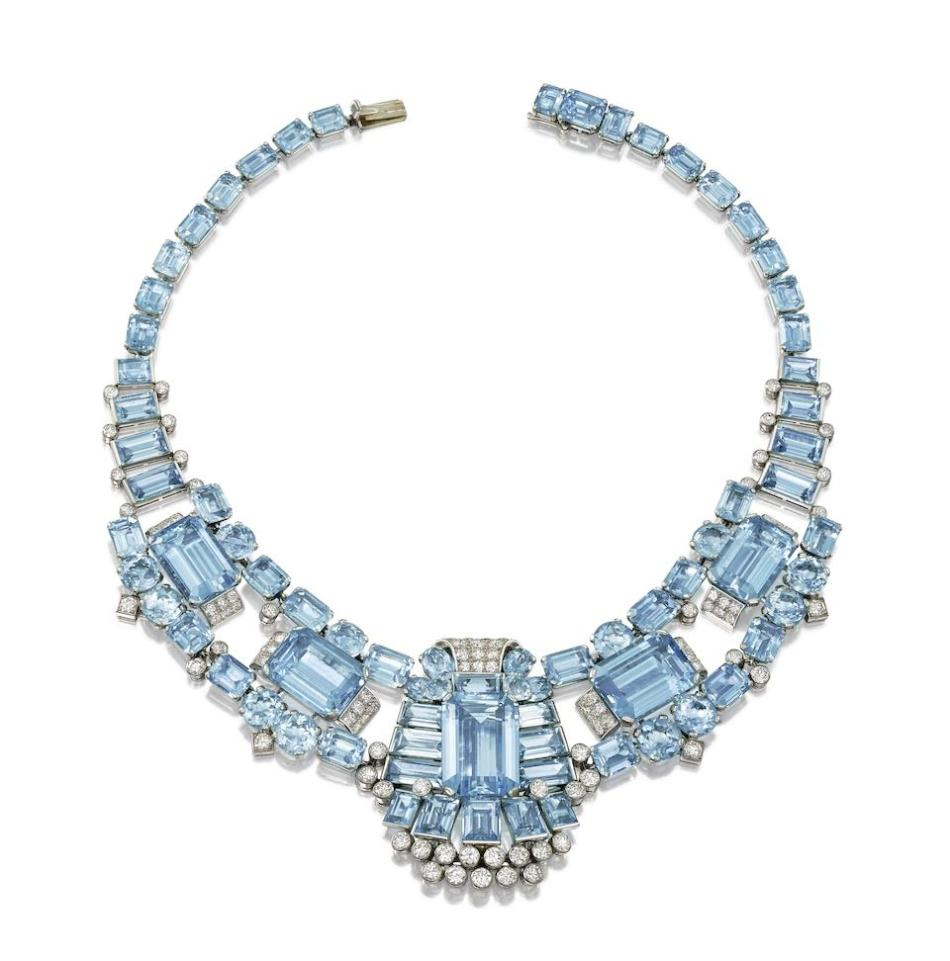 Bonhams London - Aquamarine dan kalung berlian Art Deco, karya Cartier