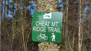 Trail marker on the Cheat Mountain Trail